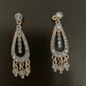 Antique tone and baby blue stones pierced earrings